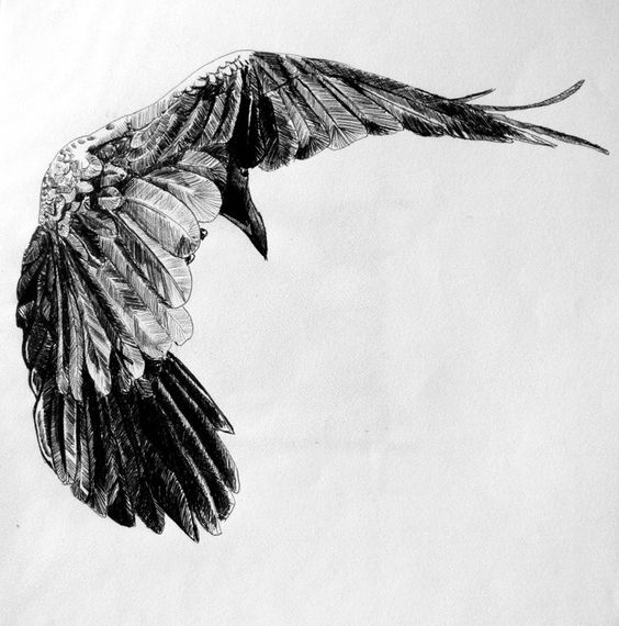 Fine black flying raven tattoo design
