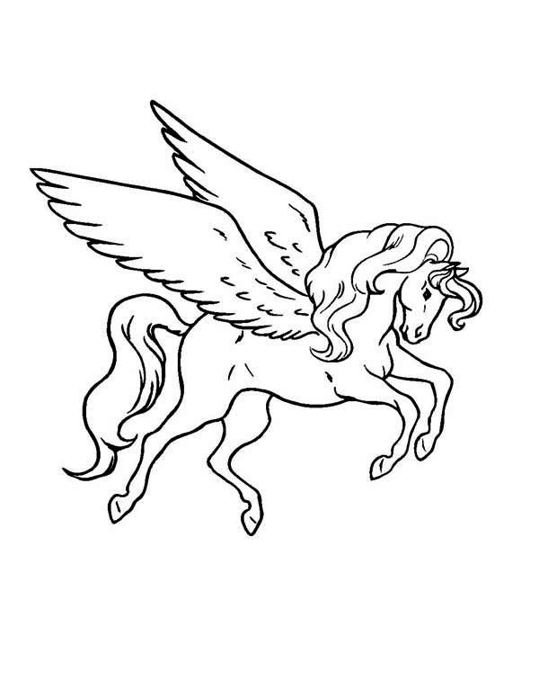 Fine black outline pegasus tattoo design