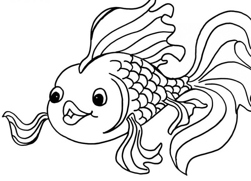 Fine cartoon outline fish tattoo design