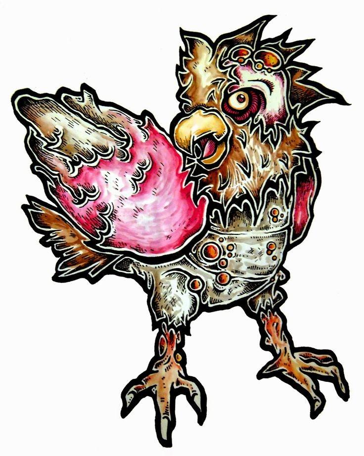 Fine colorful zombie bird pokemon tattoo design