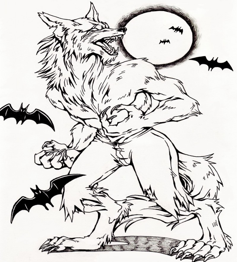 Fine colorless werewolf with flying bats and full moon tattoo design by Ramen Mangaka