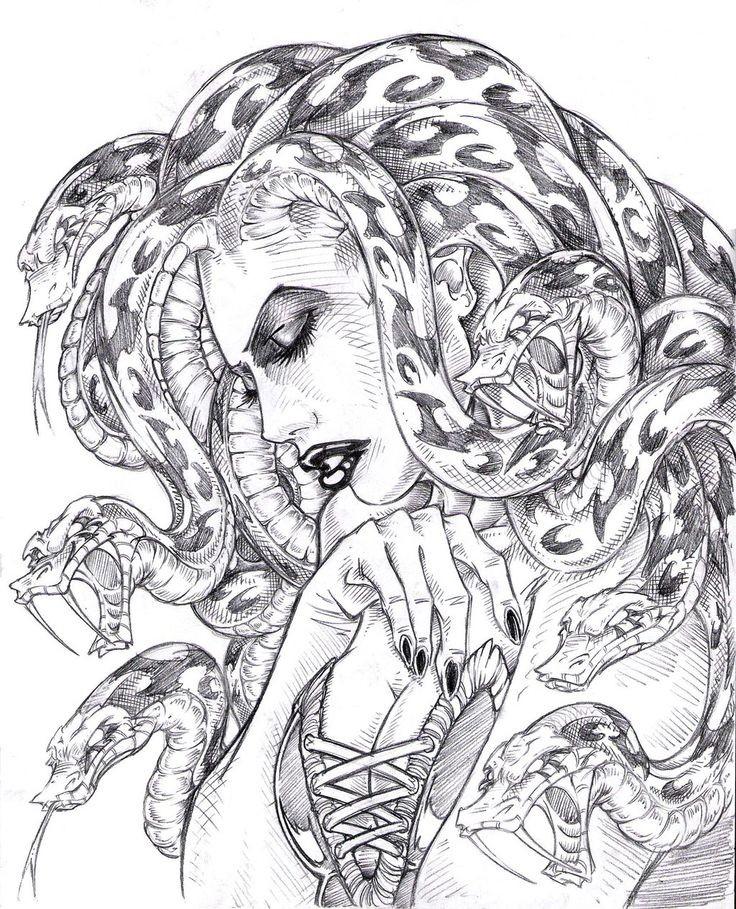Fine erotic pencilwork medusa gorgona tattoo design