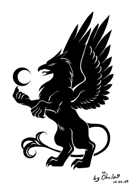 fine full black standing griffin with a small half moon tattoo design. Black Bedroom Furniture Sets. Home Design Ideas
