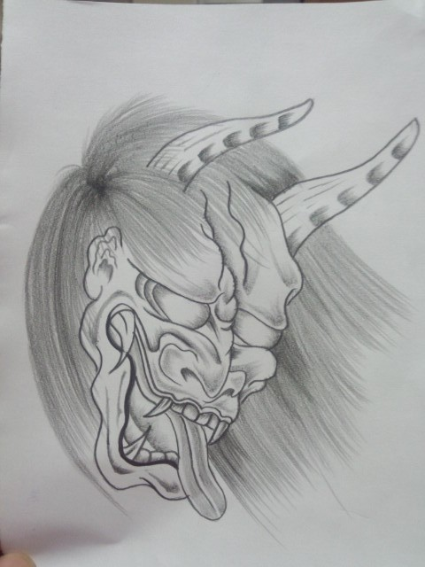 Fine grey-ink devil head with long hair and horns tattoo design