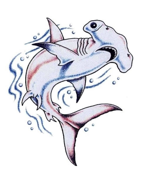 Fine hummer shark in blue and purple colors tattoo design