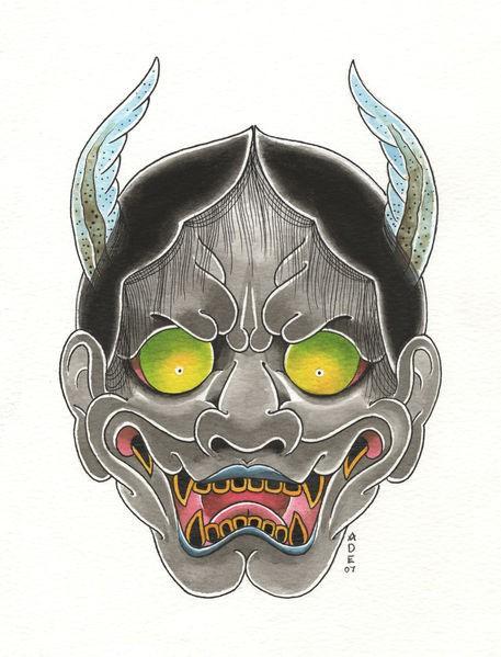Fine japanese grey-skin demon face with yellow shining eyes tattoo design