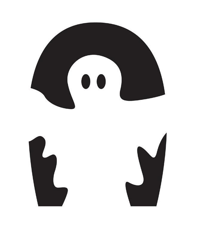 Fine little white ghost on black background tattoo design