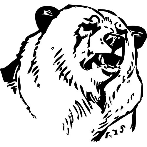 Fine outline grizzly head tattoo design