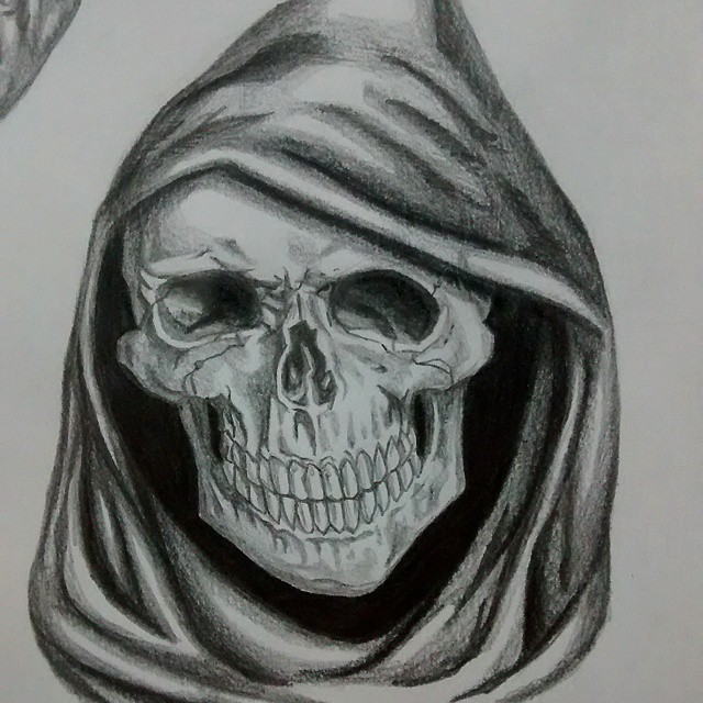 Fine pencilwork smiling death skull in a black hood tattoo design