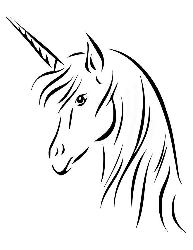 Fine plain outline unicorn portrait tattoo design