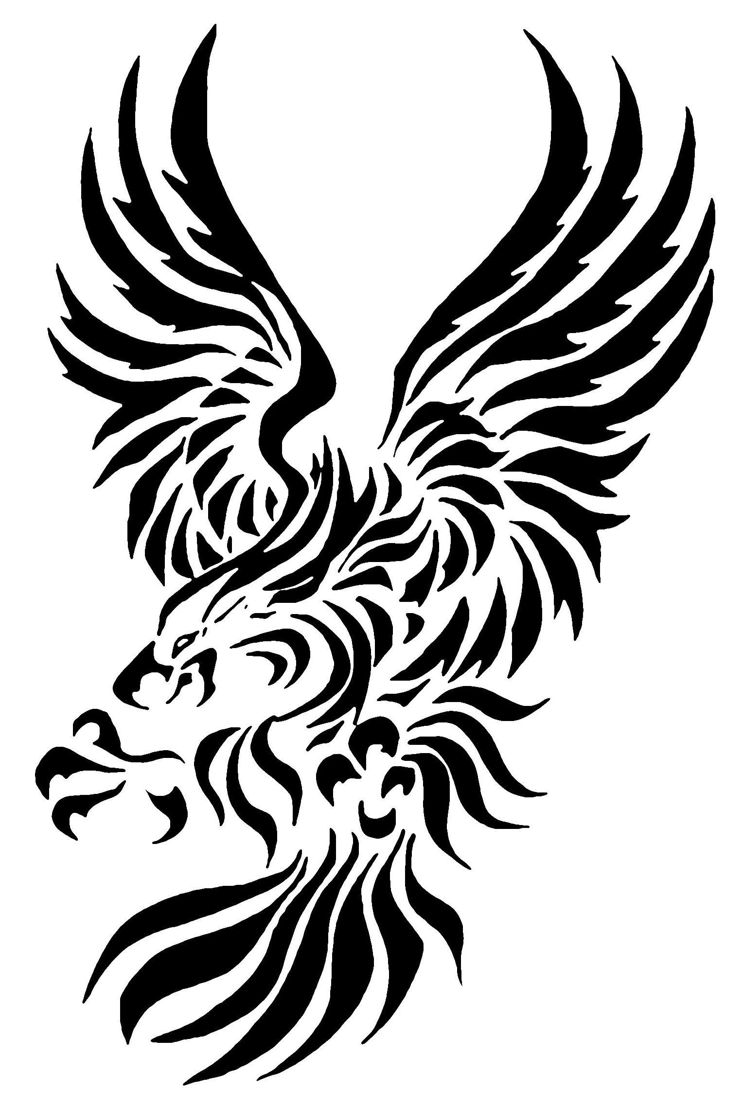 Fine tribal flying eagle tattoo design