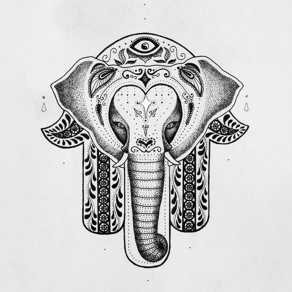 Fine uncolored dotwork hamsa elephant tattoo design for Hamsa elephant tattoo