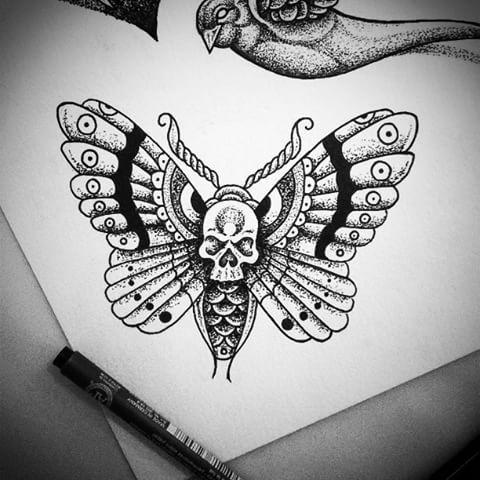 Fine uncolored dotwork moth tattoo design