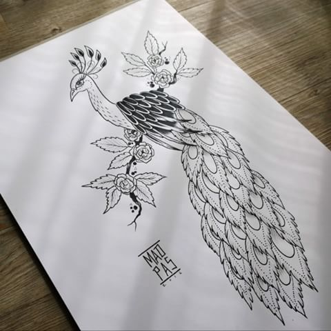 Fine uncolored peacock sitting on flowered branch tattoo design