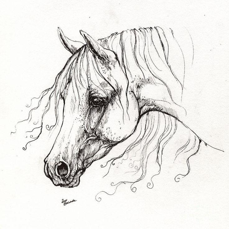 Fine white horse head in profile tattoo design