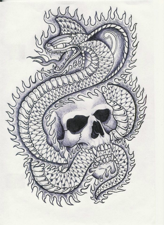 Fire cobra snake and skull tattoo design by Sympmack3 ...