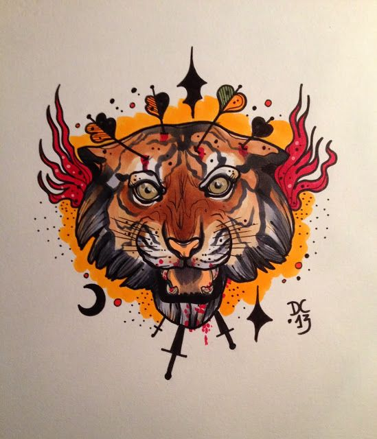 Fire tiger head with black elements on orange background ...