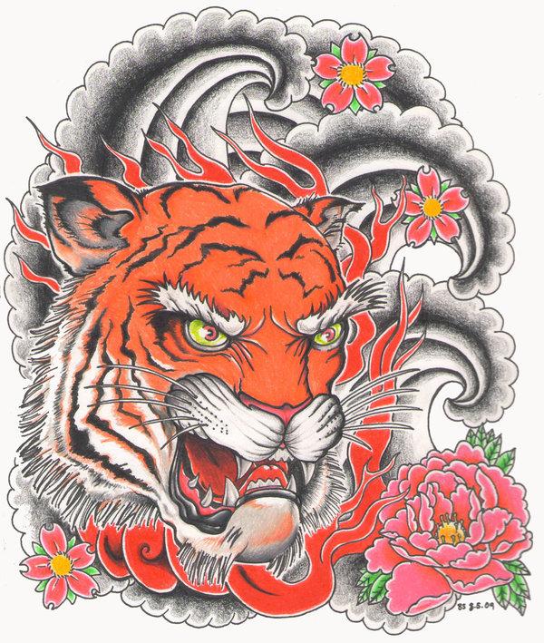 Fire tiger on grey smoke and pink flower background by Bsguru