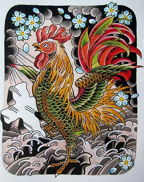 Fish scaled rooster with cherry blossom and waves in chinese style tattoo design