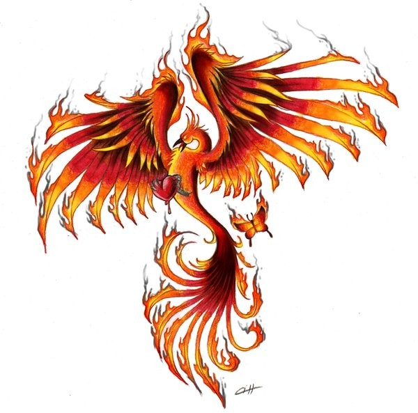 Flaming phoenix keeping a heart in clutchers tattoo design by Pencil Chewer