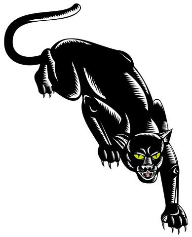 Flexible yellow-eyed panther tattoo design