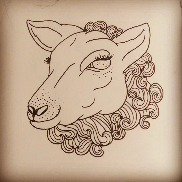 Flirting cartoon outline sheep head tattoo design