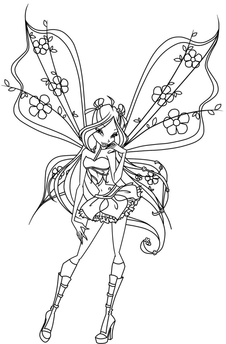 flirting outline fairy with floral decorations tattoo design