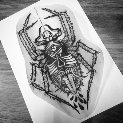 Fluffy-leggen spider with monster grin body tattoo design