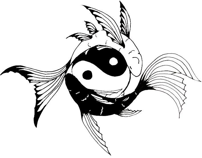 Fluffy Tailed Fish And Yin Yang Symbol Tattoo Design By Wearemarshal Tattooimages Biz