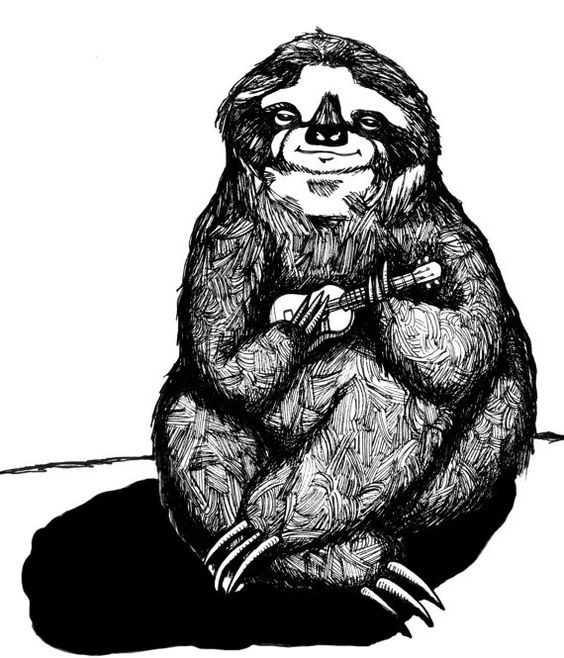 Fluffy Black And White Sloth Playing A Small Guitar Tattoo Design