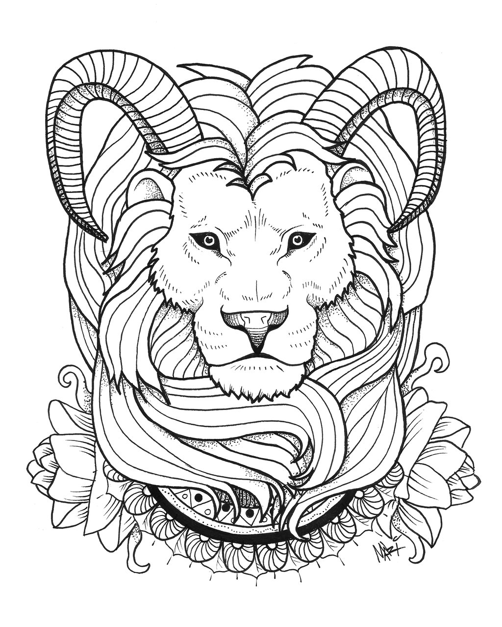 Fluffy lion head with sheep horns tattoo by Mary Marylp