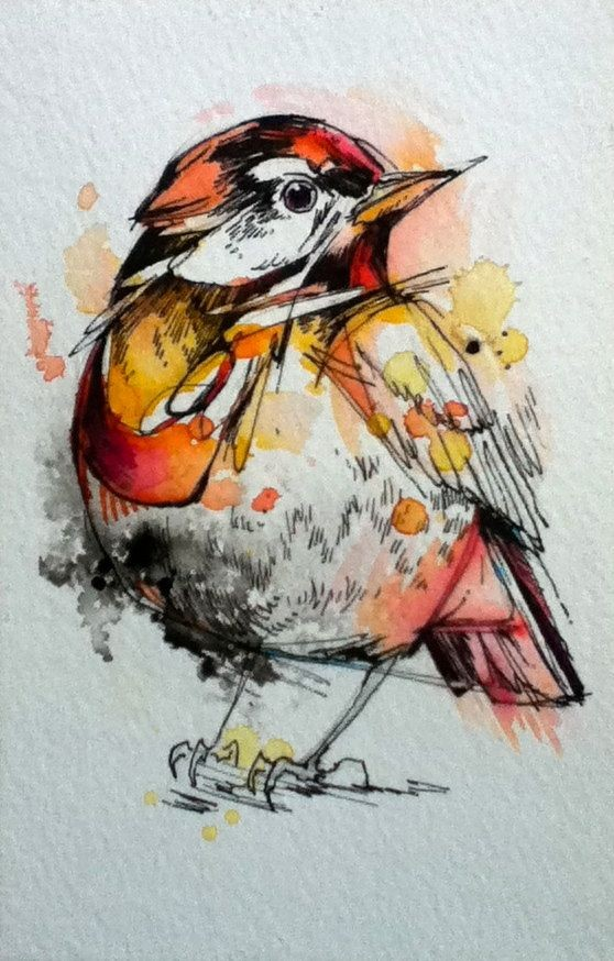 Fluffy Orange Watercolor Sparrow Tattoo Design