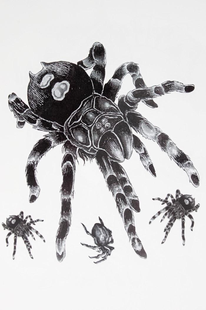Fluffy tarantula spider mom with her babies tattoo design