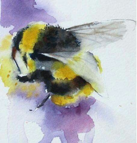 Fluffy watercolor bee on violet background tattoo design
