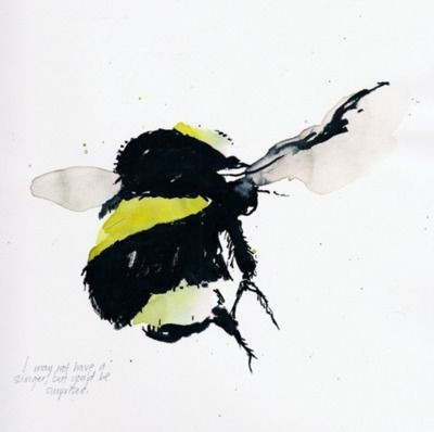 Fluffy watercolor bee tattoo design