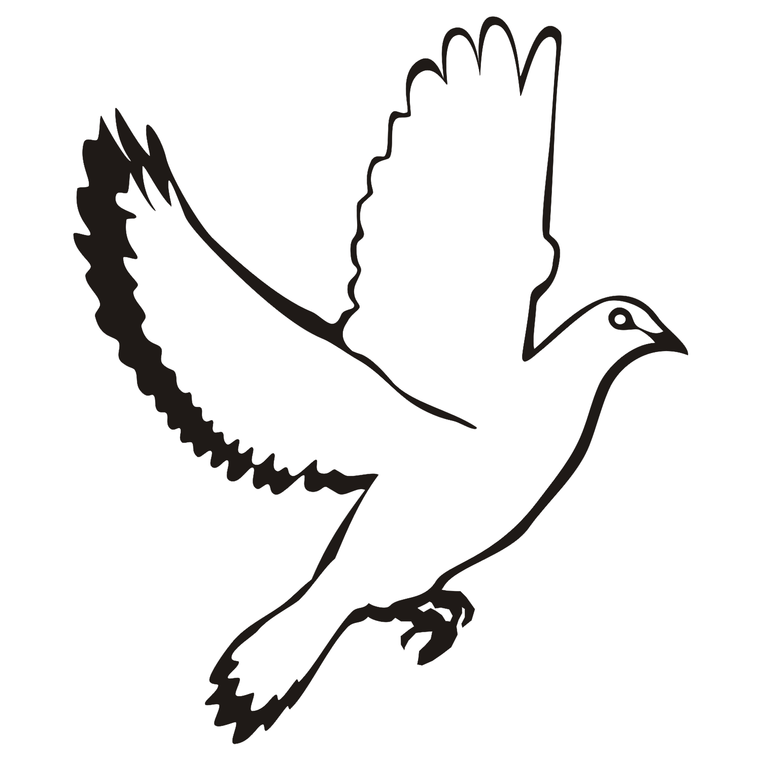 Flying dove with black wing and tail tattoo design
