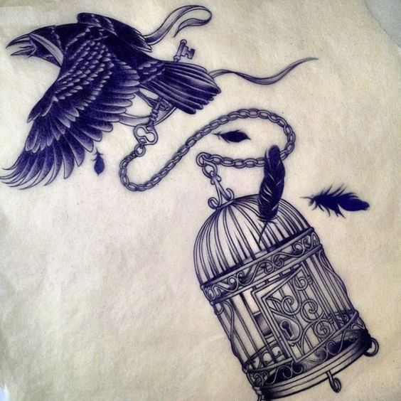 Flying raven and falling cage tattoo design