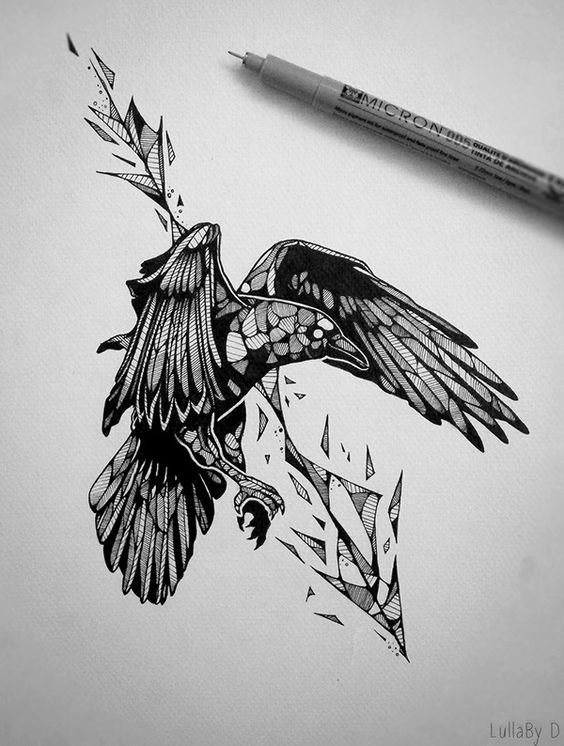 Flying raven and geometric arrow tattoo design