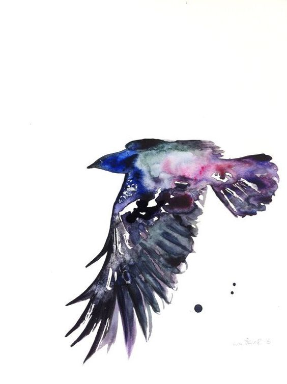 flying raven with purple watercolor effect tattoo design