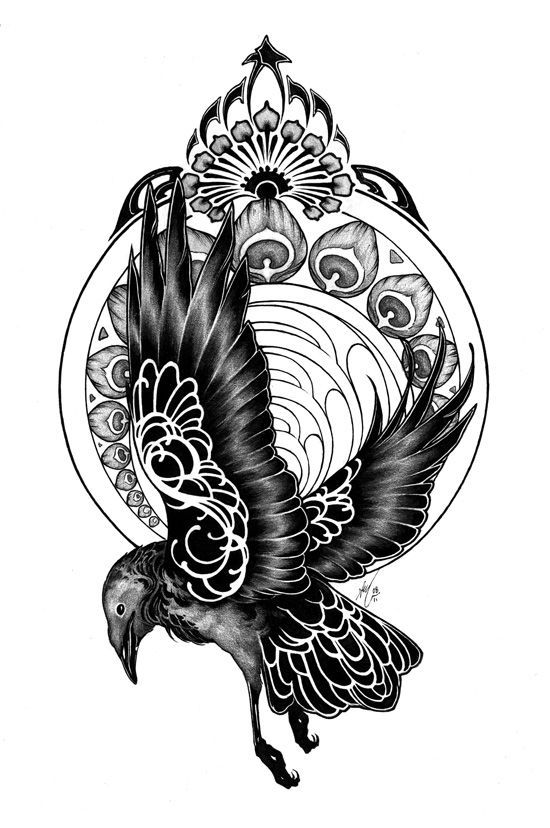 Flying raven with white ornamented wings tattoo design