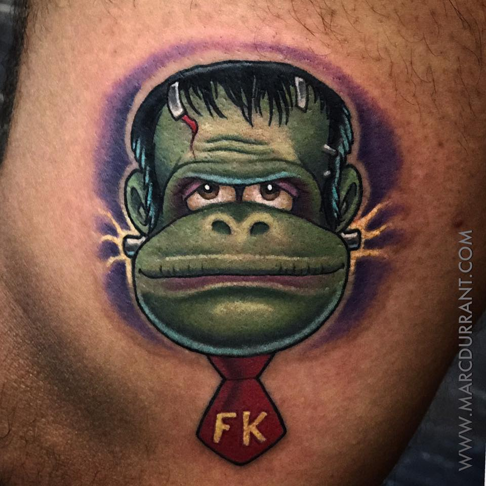 FrankenKong cartoon style tattoo