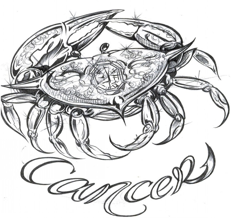 Free black-and-white shining crab with lettering tattoo design