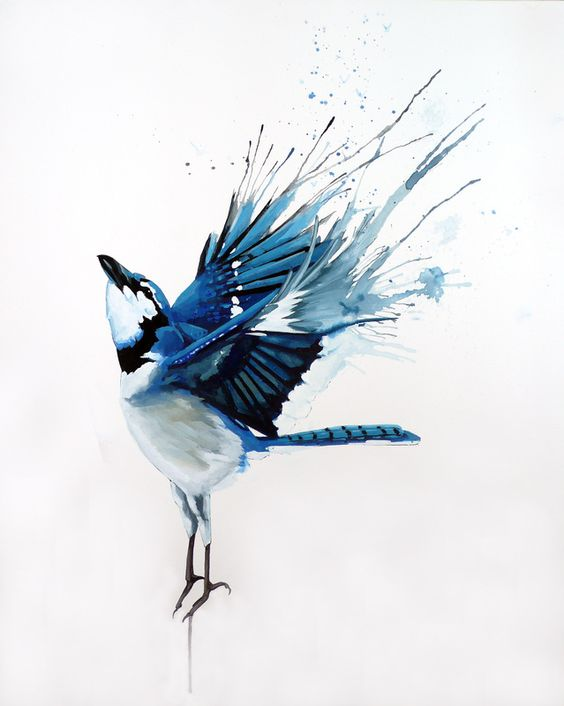 free blue bird with watercolor wings tattoo design. Black Bedroom Furniture Sets. Home Design Ideas