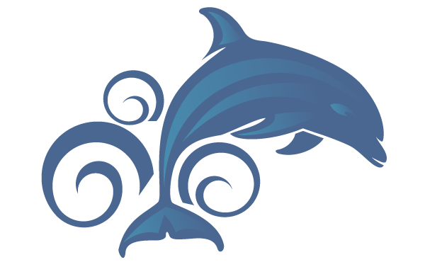 Free blue jumping dolphin and water curls tattoo design