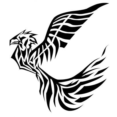 cb5d1dc83 Free small black-ink flying phoenix in tribal style tattoo design ...