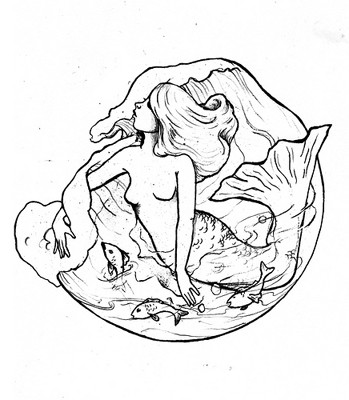 Free uncolored mermaid and fishes in high waves tattoo design