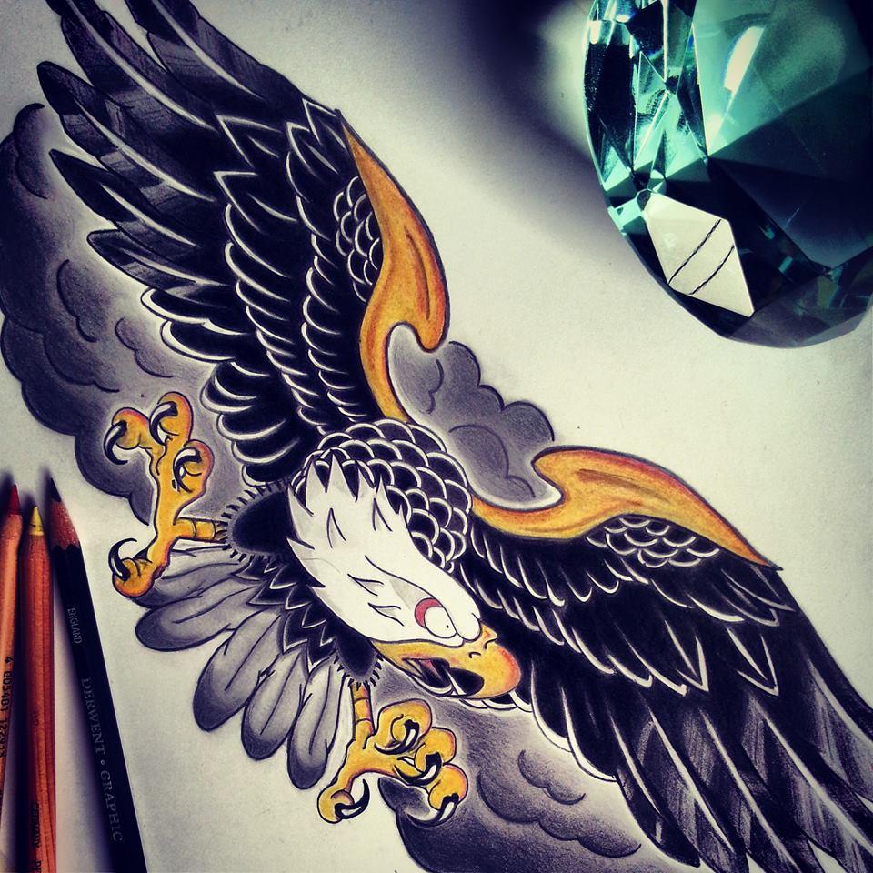 Frightened american eagle on dark smoke bakground tattoo design by Swishalol
