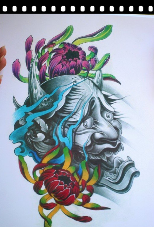 Frightening devil head with colorful peony flowers tattoo design