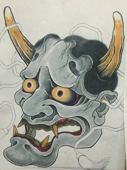 Frightening devil head with huge horns tattoo design