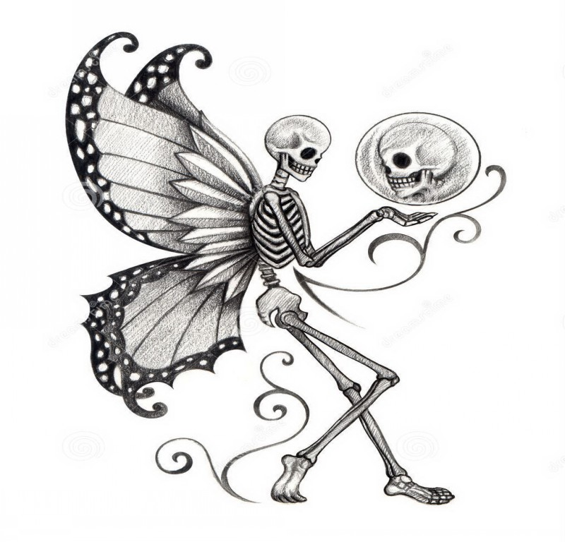 Frightening grey-ink fairy skeleton with a skull lover in a bubble tattoo design